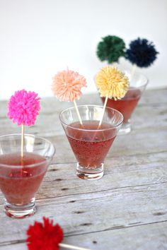 DIY Yarn Pom Pom Swizzle Sticks