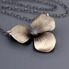 Large Sterling Silver Hydrangea Blossom Necklace by Lisa Hopkins Design