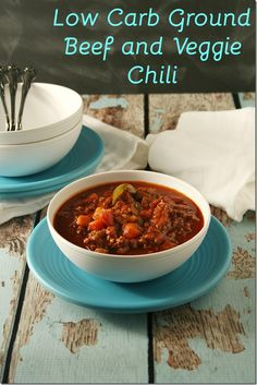 This Low-Carb Ground Beef and Veggie Chili has so much flavor and texture that you won't even miss the beans! - Low Carb Ground Beef and Veggie Chili - Yours And Mine Are Yours