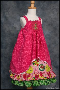 """A fun Christmas version of """"Sandpiper"""" fro Australian Smocking & Embroidery #88."""