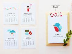 Calendario 2014 para imprimir gratis   Descargables Gratis para Imprimir: Paper toys, diseño, Origami, tarjetas de Cumpleaños, Maquetas, Manualidades, decoraciones fiestas y bodas, dibujos para colorear, tutoriales. Printable Freebies, paper and crafts, diy