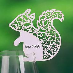 wedding favors, glasses, squirrels, wedding decorations, place cards, weddings, laser cut, wine glass, places