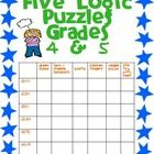 I have created 5 logic puzzles that would be appropriate for advanced beginners. Each puzzle requires the student to read the clues and match 6  op...