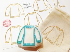 knitted sweater rubber stamp. hand carved rubber stamp. knitting stamp. packaging stamp. for knitter. craft projects. READY TO SHIP