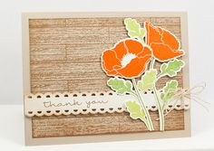 lisa johnson - poppies card with western wood background