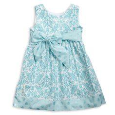 Aqua Damask Metallic Dot Sash Dress – Lolly Wolly Doodle