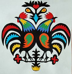 paper cut outs, rooster wycinanki, polish paper, paper projects, cut paper