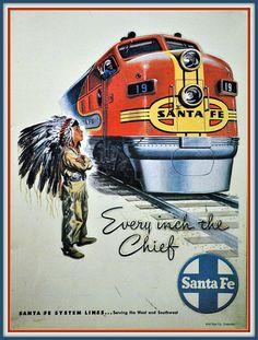 Santa Fe Railroad Vintage Poster