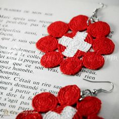 Painted lace earrings Swiss flag