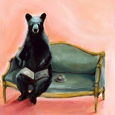Black Bear Art  Byron  salmon pink black  tea by amberalexander, $20.00