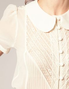 Elegant and sweet -   ASOS Short Sleeve Crochet Trim Blouse