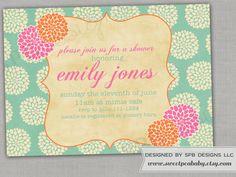 Baby Shower Invitation or Bridal Shower Invitation -- Spring Mums.