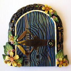sandylandya@outlook.es Magical Blue Fairy Door made with polymer clay