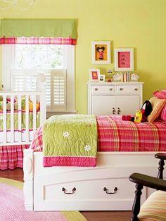 Cuarto de niña color rosa con verde