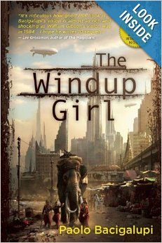 The Windup Girl by Paolo Bacigalupi.  Cover image from amazon.com.  Click the cover image to check out or request the science fiction and fantasy kindle.