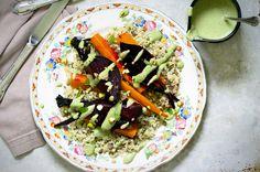 Roasted Roots with Quinoa, Lentils & Pistachio Cream via CleanWellness.ca