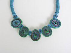Textile Necklace  Fiber Jewelry  Textile by AudraTextileStudio, $45.00