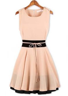 Summer Essential Round Neck Sleeveless Pink Chiffon Dress