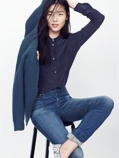 Madewell spotlight shirt worn with zip-front cardigan + high riser Alley straight jeans.