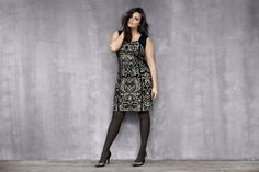 Lane Collection Intarsia Scroll Dress. Luxe sparkle meets va-va-voom curves. Stunning! #LaneBryant