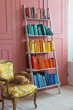 Pretty Pink wall and white bookshelf