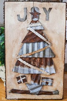 metal christma, christmas pictures, christmas tree ideas, christma tree, corrugated metal decor