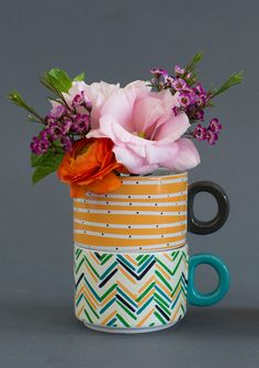 stackable mugs for morning blooms and your morning pick-me-up!