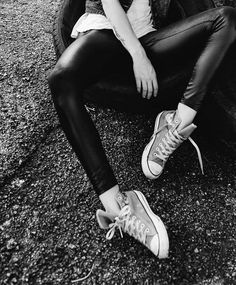 fashion, style, sneaker, converse, leather leggings