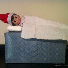 sleepy elf on the shelf