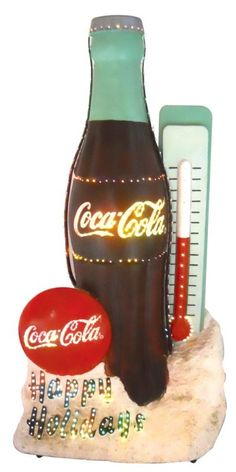 "Coca-Cola Light Up Outdoors/Indoors ""Happy Holidays"" Bottle/Thermometer RARE    ........  #coke ....... #coca-cola"