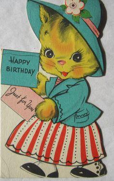 Vintage Child's Birthday Card - Dressed Up Kitten  - Circa 1945 - Gibson