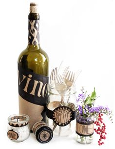 Personalize your Holiday Tabletop using craft tape and a sharpie