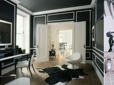 black and white living room WOW