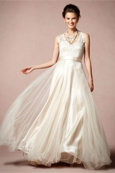 Not that i plan on getting married again, but this dress is so pretty! Onyx Gown in The Bride Wedding Dresses at BHLDN