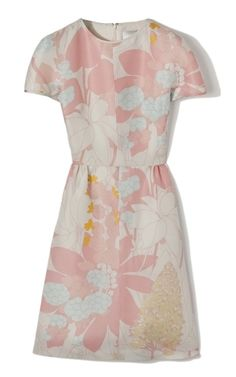 Valentino Short Sleeve Multicolor Silk Dress at Moda Operandi