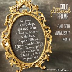 Becoming Martha: Gold and Glittered 50th Anniversary Frame and Print