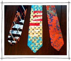 #SCAD prof Denise Carson splatter paint vintage ties, $20 each