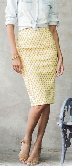 lemon #yellow geometric print pencil skirt http://rstyle.me/n/icsdhr9te