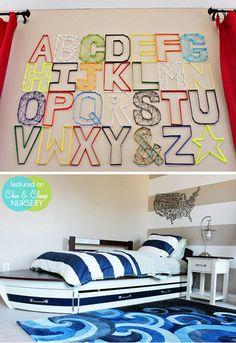 Modern-Toddler-Room Love the boat!  Easy DIY wall letters   #projectnursery #franklinandben #nursery