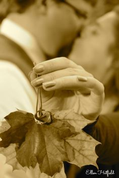 Ring on Leaves fall engagement photo