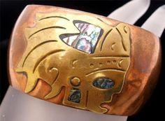 Metales Casado Copper Cobre Brass Abalone Shell Cuff Bracelet Vintage | eBay
