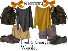 twin day, harri potter, fashion, style, fred, outfit, georg weasley, harry potter, disneybound