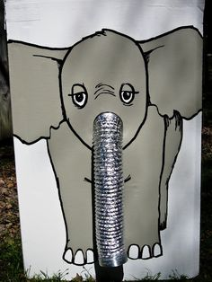 For our Fall Fest at church - you feed the elephant peanuts & lift up his trunk.  Then someone in back puts tickets or candy in & when kids pull trunk back down they fall out!!