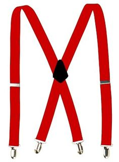 Elastic Adjustable Clip Suspenders - Red