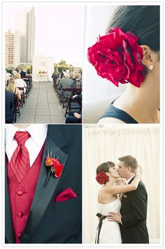 red wedding florals, its all in the details.