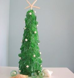 Christmas Tree of Sea Glass and Pearls w Starfish Topper, Green