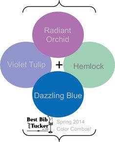 Pantone Spring 2014 Hemlock + Dazzling Blue + Violet Tulip + Radiant Orchid