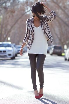 jacket, woman fashion, blazer, red shoes, outfit, black white, leather pants, leather leggings, tribal prints