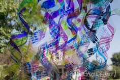 Chihuly themed sculpture using plastic bottles and sharpies - great for kids to make