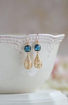 Matte Gold Puffy Filigree Teardrops Montana Blue Glass Dangle Earrings,Gold  Hollow Teardrop Filigree Earrings, Navy Blue Drop Earrings,